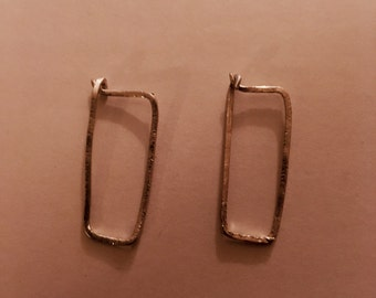 Rectangular square style hoop sterling silver earrings, minimal and edgy