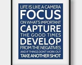 60% OFF Camera Print, Life Is Like A Camera Navy Wall Decor, Camera Art, Modern Wall Decor, Inspirational, Motivational Quote, Camera Quote