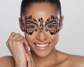 Tattoo black masquerade mask etsy for Face mask tattoo