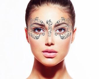 Silver Metallic Temporary Tattoo Face Mask