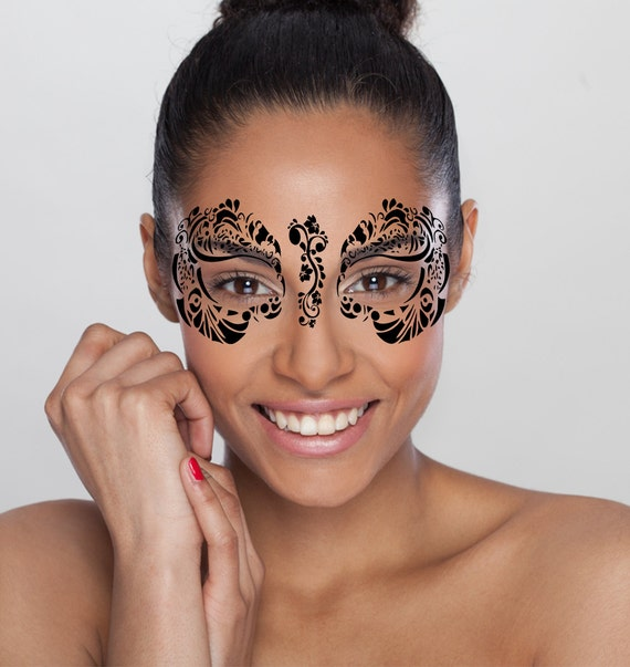 Tattoo Woman Face Mask: Black Temporary Tattoo Face Mask