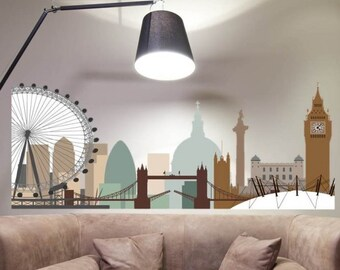 London City Skyline Wall Sticker (STD or GREY)