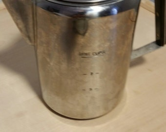 Vintage Stove Top Percolator Coffee Pot Stainless Steel