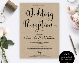 Wedding Reception Invitation Printable - Wedding Reception - Wedding Kraft Reception Invitations - Reception - Downloadable Wedding #WDH0187