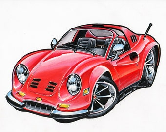 Red Ferrari Dino - Original drawing - Matted and bagged