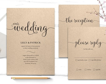 Printable Wedding Invitation - Wedding Template - Wedding Invitation PDF - Wedding RSVP Print At Home - Elegant Wedding Invitation