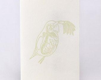 3pcs Japanese paper mini envelope WATER FLEA by letterpress