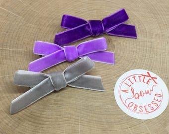 Velvet Hair Bow Set, Girls Hair Bows, Purple Hair Bow Set
