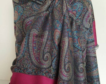 Beautiful scarf with traditional design made of silk,cashmere and cotton for Her. Turkish cashmere, gift scarf, paisley pattern Shawl