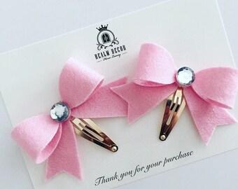 PIGTAIL BOW SETS / Felt Bow Clips / Pink Felt Bow / Purple Felt Bow / Blue Felt Bow / Bow Clip Sets