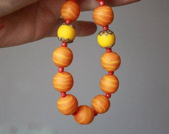 SALE Orange Yellow Necklace from Polymer Clay Gift for Her