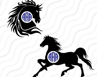 Horse SVG, Horse Silhouette, Horse Monogram SVG Cut table Design,svg,dxf,png Use With Silhouette Studio & Cricut_Instant Download