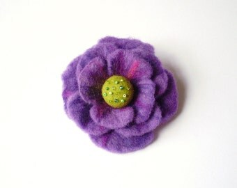 Felted flower brooch, purple, light green