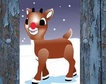 Pin the nose rudolph - Pin the nose on  Rudolph -  Rudolph the rednose reindeer -  christmas games - holiday games- kids christmas games -