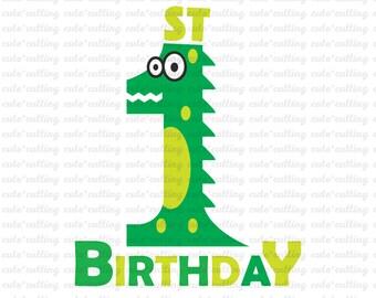 First Birthday svg, Crocodile svg, Alligator svg, one svg dxf jpeg cutting files for Silhouette Cameo, Portrait, Curio, Cricut