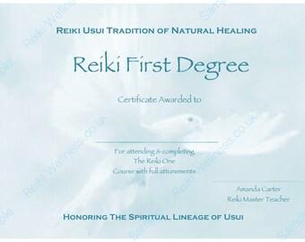 reiki level 1 certificate template reiki certificate etsy