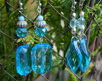 Acrylic Turquoise Dangle Earrings Triangle or Rectangle