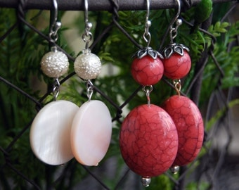 White Flat or Rose Colored Dangle Earrings