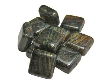 Czech Picasso Beads - Czech Glass Beads - Square Beads - 11mm Square - Czech Square - Czech Beads - Flat Square - 10pcs (2570)