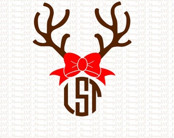 Christmas Girl Reindeer Antlers With Bow For Monogram SVG, Cut File, Cricut File, Silhouette SVG