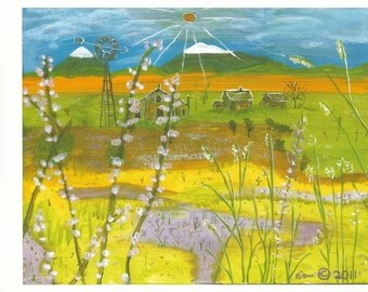 Lost In Eastern Oregon – Mountains Farm Landscape Print by Dana Anderson of DanasArt1