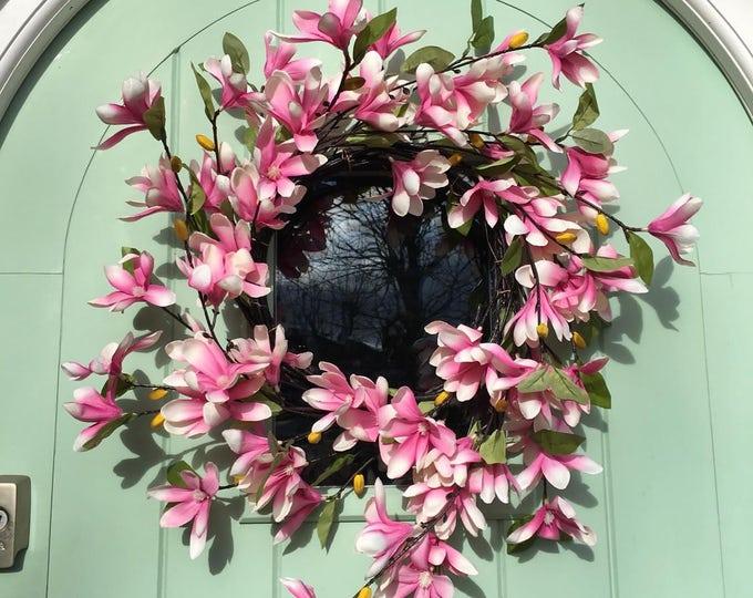 Gorgeous pink wild magnolia spring door wreath