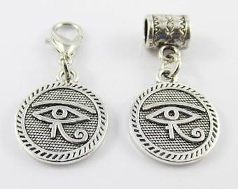 Egyptian Eye of Horus Charm Pendant Select European Charm or Clip on