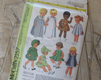 """Baby 1st Step Li'l Miss Fussy Ruthie 20"""" Baby Kicks Tubsy Thirstee Babee Baby Buttercup Doll Clothing PATTERN 17"""" 20"""" McCall's 2157 1960s"""