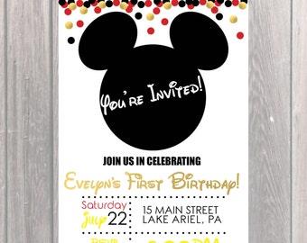 Disney Birthday Party Invite, Custom Birthday Invite