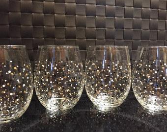 Polka Dot Confetti Stemless Wine Glasses-Set of 4-Black/White/Gold-Ready to Ship!