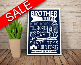 Wall Art Brother Rules Digital Print Brother Rules Poster Art Brother Rules Wall Art Print Brother Rules Kids Art Brother Rules Kids Print