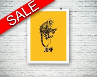 Wall Decor Monkey Printable Jump Prints Monkey Sign Jump Living Room Art Jump Living Room Print Monkey Printable Art Monkey wild