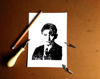 Kafka linoprint, deco, wall art print, writer, home decoration, linocut carved, etched, limited edition, handmade, metamorphosis, carving,