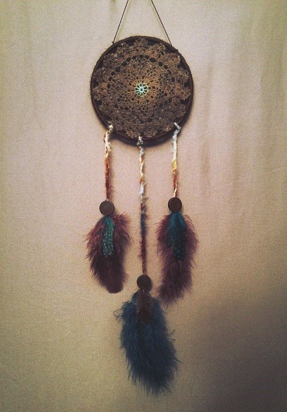 "Small Brown Dream Catcher XS 4"" Small blue dream catcher boho Bohemian Blue Brown Dream Catcher car accessory // Mountainous"