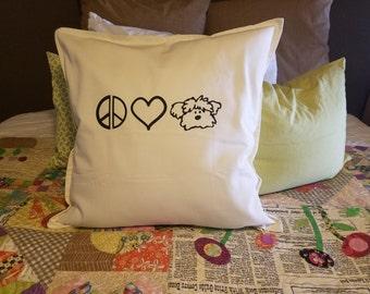 Peace Love Dog Pillow, Novelty Pillow, Decorator Pillow, Dogs, Rescue, Adopt, Pillow