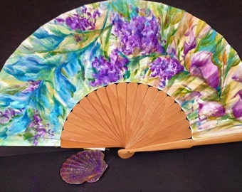 Spanish fan hand painted purple flowers,in purple,green,blue,big size hand painted fan,women's luxury accessory,unique item,gift for her