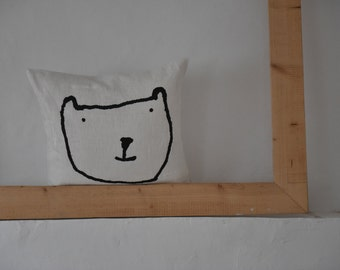 LINEN pillow case with bear, handmade block print