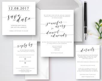 Printable calligraphy wedding invitations, Wedding invitation set, Invitations, Digital decor, Detail and RSVP.