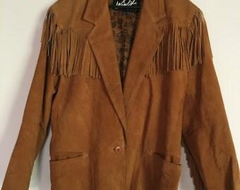 Vintage Tan Suede Tassel Coat