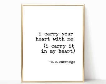 I carry your heart with me printable, e.e. Cummings quote printable, e.e. cummings print, ee cummings wall art, home decor, wall decor, poem