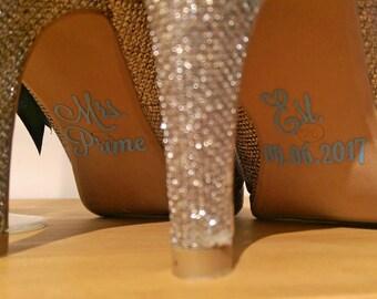 Personalised Wedding Shoe Sticker Transfers Decal Mr Mrs