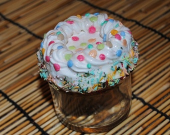 White Thickly Frosted Cake with Sprinkles Glass Jar