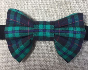 Tartan boy's bow tie, Armstrong tartan bow tie, green and black tartan bow tie.