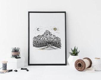Chosen Path - Mountain Art - Pacific Northwest Art - Print - Nature art - Watercolor Print