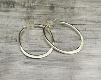 earrings STERLING SILVER 925,  oval earrings,