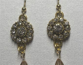 Antique gold Rhinestone chandelier earrings