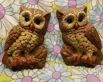 Vintage pair of hardened foam owls