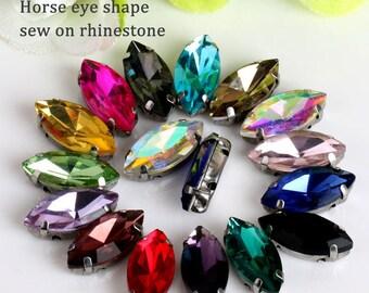 50pcs/pack 4x8mm  Opal Horse Eye Crystal glass Sew On Rhinestone with Claw apply