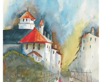 Asian City - Original Watercolor 8 x 10 1/4 inches