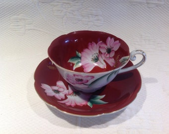 """""""Maruki China"""" Cup with saucer red wine with pink flowers - Teacup / / made in the Japan"""